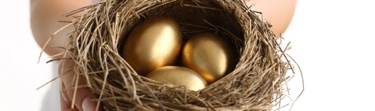 Hands holding nest with golden eggs